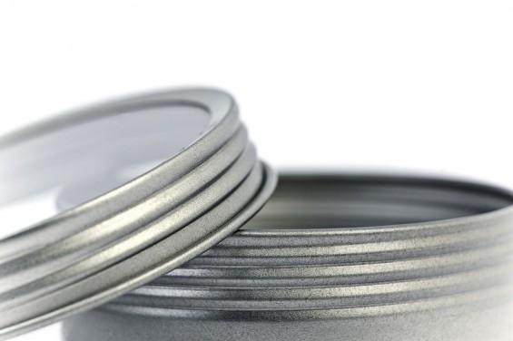 Lata metal redonda tampa em rosca