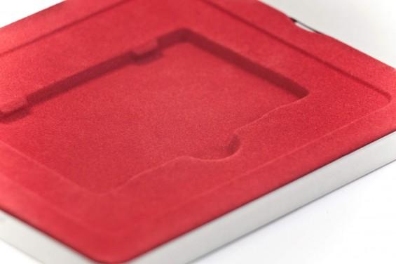 Caixa metal quadrada cartões Vermelha