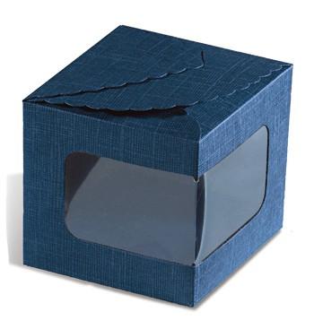 Caixa cartão azul com janela