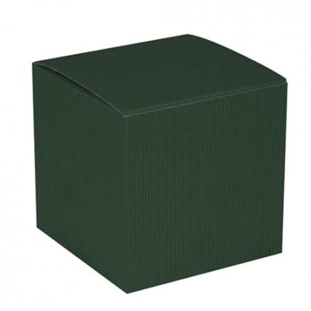 Cubo de cartão verde-escuro