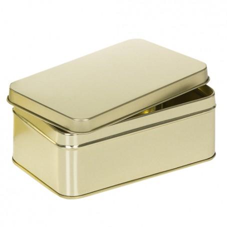 Embalagem de metal dourada