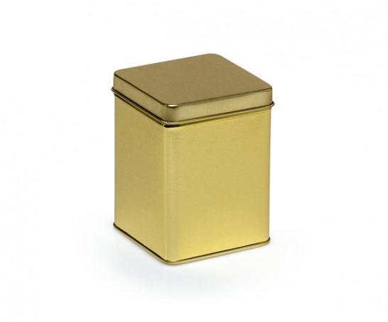 Lata de metal dourada