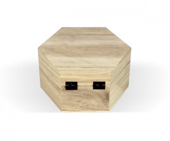 Caixa de madeira hexagonal