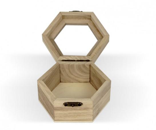 Caixa de madeira com tampa em vidro