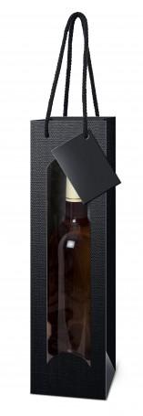 Bolsa para garrafa com asa de cordel e janela | Saco para garrafa