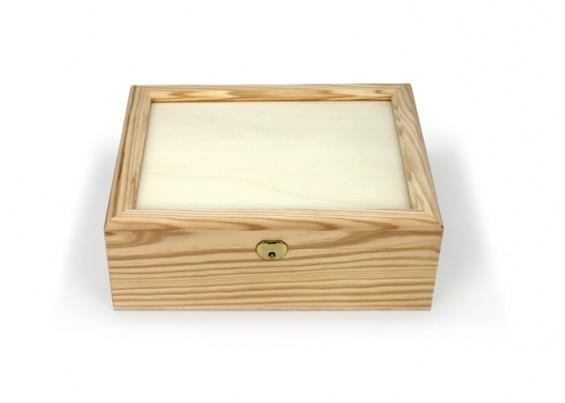 8e8520ac2ae Caixa de madeira com tampa em vidro