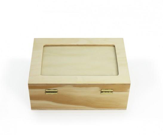 Caixa de madeira com vidro