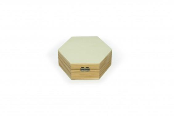 Caixa de madeira em formato hexagonal