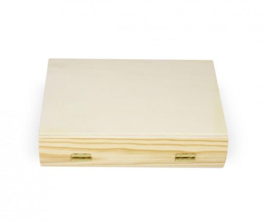 Caixa de madeira em forma de livro