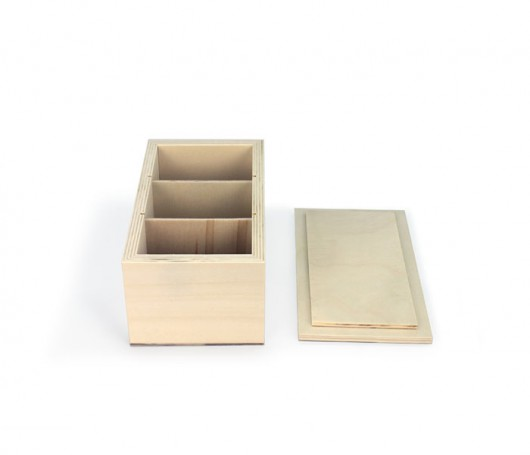 Caixa de madeira com 3 separadores