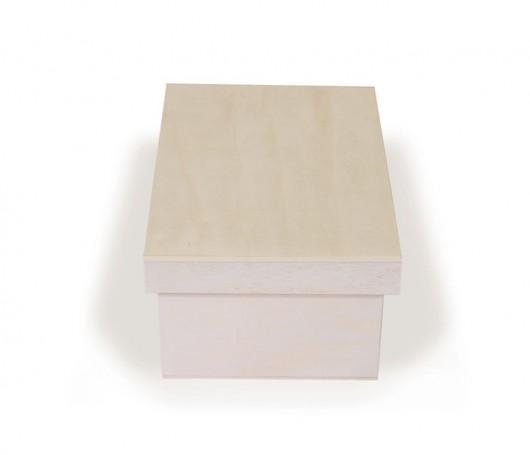 Caixa de madeira com tampa retangular com divisórias
