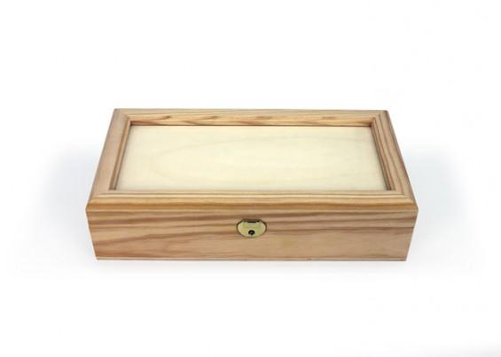 Caixa de madeira com dois tabuleiros
