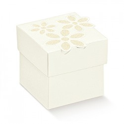 Cubo de cartão com flores impressas