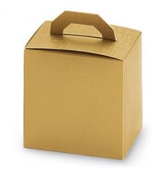 Caixa dourada com pega no topo.
