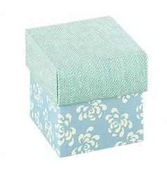 Cubo azul com impressão