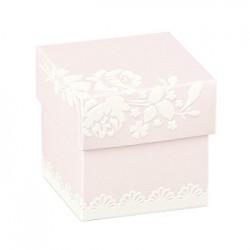 Cubo rosa com impressões