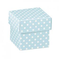 Cubo azul com impressões