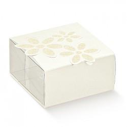 Embalagem PET e cartão branca com flor impressa