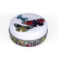 Embalagem metal com borboletas