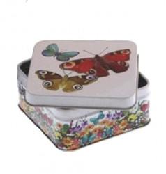 Embalagem metal quadrada com borboletas