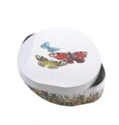 Embalagem de metal oval com borboletas