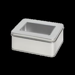 Caixa de metal retangular com janela