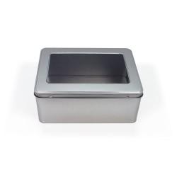 Embalagem de metal com janela na tampa