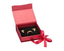 Caixa de cartão vermelha para aneis e brincos