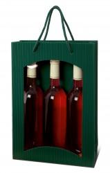 Saco verde para três garrafas