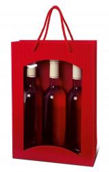 Saco vermelho para três garrafas