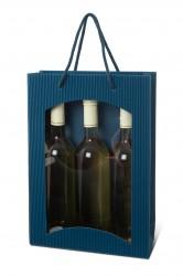 Saco azul para três garrafas