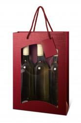 Saco bordeaux para três garrafas