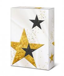 Embalagem branca com estrelas
