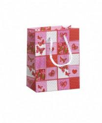 Saco de papel com padrão cor-de-rosa