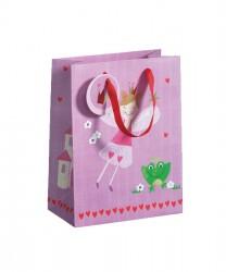 Saco de papel em tons rosa
