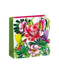 Saco de papel com padrão floral