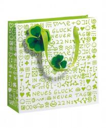 Saco de papel em tons verde