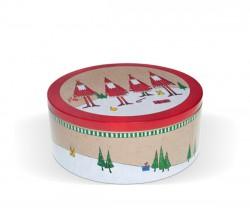 Caixa redonda com motivos natalícios