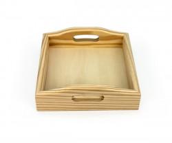 Tabuleiro quadrado de madeira com pegas