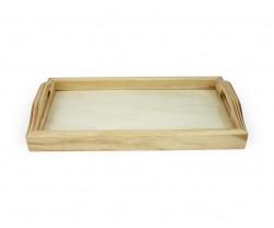 Tabuleiro de madeira com vidro | Bandeja de madeira com vidro