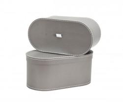 Caixa oval cinza